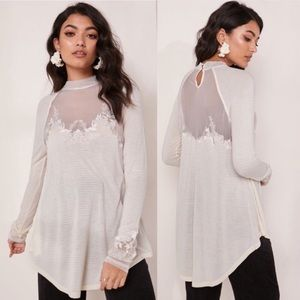 Free People | NWT Saheli Cream High Neck Lace Top